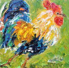 Original oil painting Rooster Strut 6x6 palette knife impressionism on canvas fine art by Karen Tarlton