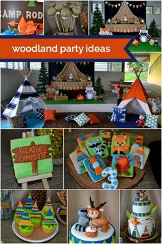 What do you do when you have an outdoor birthday party planned and the weather turns traitor on you? You take the celebration under cover—just like Carol Colon of Partylicious did for this darling woodland themed camping party. The little three-year-old birthday boy couldn't be disappointed with tee-pee tent decorations and a dessert table full of birthday cake, cupcakes and all manner of treats! See Also This Boy's Woodland 1st Birthday Party is full of great ideas for your little advent...