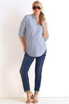 Next Blue Stripe Casual Shirt (Maternity)