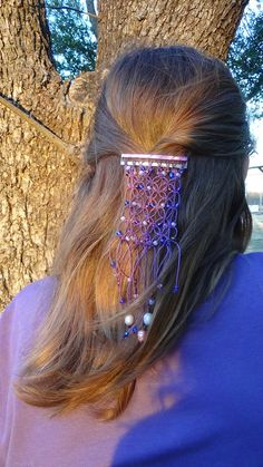 Lavender Purple Macrame Beaded Barrette by RocknKPproducts on Etsy, $15.00