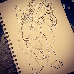 Jackalope Tattoo Flash Illustration