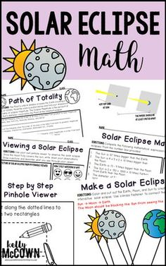 Solar Eclipse Math Activities for August 21, 2017! Don't miss out on the greatest TOTAL Solar Eclipse in the USA!!