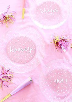 A Bubbly Life: DIY Painted Confetti Handwritten Plates