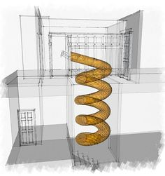 "Spiral slide idea for safe room I don't like the idea to stuck inside a tub... maybe I frefer the ""fireman pole"" with some device to control the falling velocity... like a little pad for feet (to standing + something to hold the pole itself."