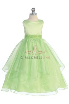 Lime Satin and Organza Layered Flower Girl Dress CB-0302-LM on www.GirlsDressLine.Com