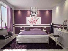 couleur de chambre design et association de couleurs en blanc et violet