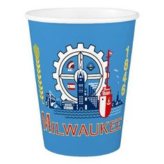 Flag of Milwaukee Wisconsin Paper Cup - diy cyo customize create your own personalize