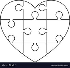 Heart in puzzle pieces icon Royalty Free Vector Image Diy And Crafts, Crafts For Kids, Arts And Crafts, Paper Crafts, Puzzle Piece Crafts, Puzzle Pieces, Handmade Birthday Cards, Art Activities, Boyfriend Gifts