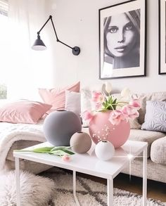 A pretty pink living room - Is To Me
