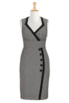 I <3 this Side button wool blend dress from eShakti  -  black and white print.  check out the entire site, nice clothes with tailoring available, decent prices, fast service, very large size range.        lj