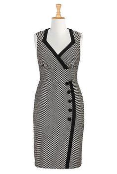 Side button wool blend dress