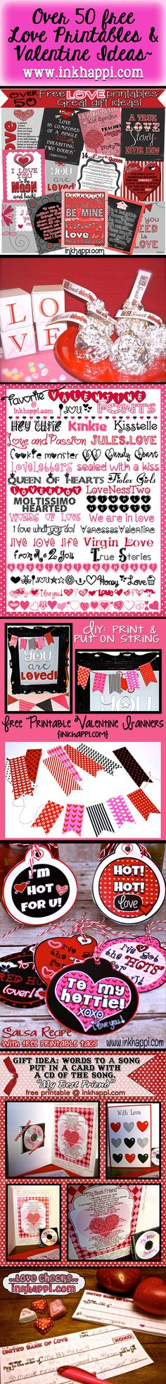 Over 50 free Love Printables and valentine ideas!