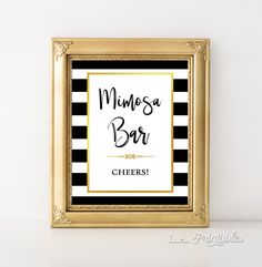 Mimosa Bar Wedding Sign, Black and Gold Stripe Reception Party Sign, Bar Sign, 8x10 inch, INSTANT PRINTABLE