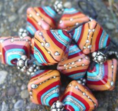 Red Coral and Turquoise  Set of 2 Beads  One Pair  by artwithheart, $9.00