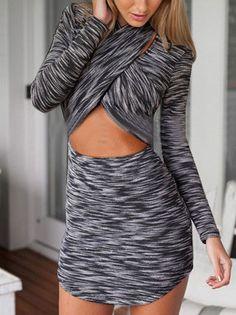 Long Sleeve Crisscross Front Hollow Bodycon Dress