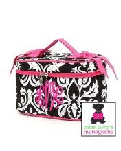 WHAT A GREAT GIFT !  our cosmetic case in damask and hot pink trim - gorgeous!   www.misslucysmonograms.com