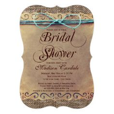 Rustic Country Vintage Bridal Shower Invitations. Rustic Country Wedding Invitations
