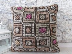 natural color organic kilim pillow 16x16 handwoven turkish pillow floor cushion bohemian pillow boho pillow decorative pillow aztec pillow