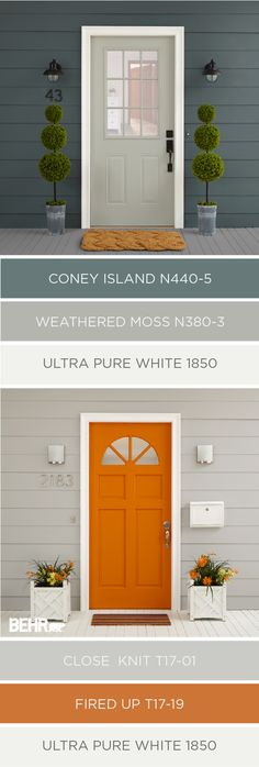 Ideas Exterior Paint Colora For House Blue Behr Exterior Color Schemes, Exterior Paint Colors For House, Paint Colors For Home, Outdoor House Colors, Modern House Colors, Siding Colors For Houses, Orange Paint Colors, Modern Paint Colors, Colour Schemes