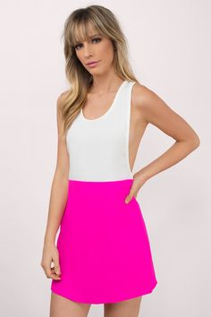 Sleeveless shift tank dress with contrast color blocking, low side slits and deep racerback detailing. Wear out to your favorite day party or as a cov - Fast & Free Shipping For Orders over $50 - Free Returns within 30 days!