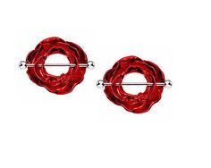 ROSE nipple ring PAIR 2 jewelry 14G red stainless steel shield bar