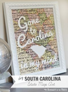 Customize state map scrapbook paper with your home state and add meaningful song lyrics. DIY South Carolina State Map Art- Gone to Carolina in My Mind  #silhouettecameo #silhouetteamerica