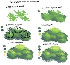 Tree Stuff Tut! as requested! I didn't include the trunk since I haven't really perfected or like the way I draw them too much. Hope this is helpful though!