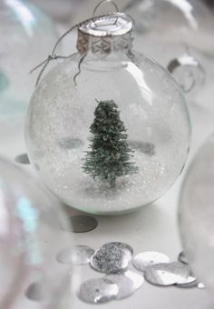 DIY Snow Globe Christmas Ornament | Shelterness