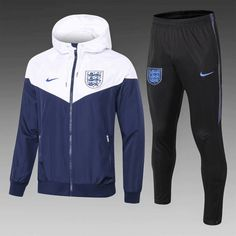 England Royal Blue and White Hoodie Men Windbreaker Suit Item Specifics Brand: Nike Gender: Men's Adult Model Year: Material: Polyester Type of Brand Logo: Embroidered Type of Team Badge: Embroidered Soccer Outfits, Nike Outfits, Sport Outfits, Kappa Sportswear, Fashion Magazines Uk, Football Jackets, Sweatshirt Outfit, Athletic Fashion, White Hoodie