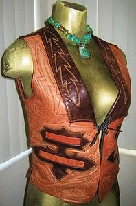 tooled leather vest