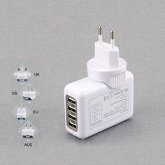 Multi function quick 4 USB universal charger for business travel 5V 2.1A