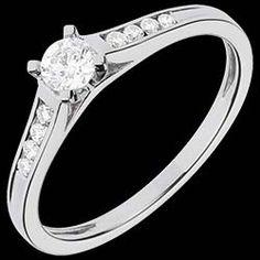 Bague de Fiançailles Or Blanc Solitaire Duchesse - diamant 0.20 carat