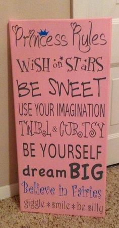 Princess Rules wood sign for girls room or nursery.
