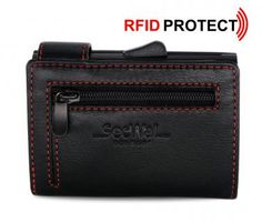 Secwal Geldtasche RFID Kartenschutz schwarz mit roter Naht - Bags & more Card Holder, Wallet, Cards, Soft Leather, Black Leather, Handmade Purses, Map, Purses, Diy Wallet