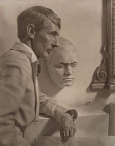 Norman Lindsay with Beethoven's death mask (c. 1921) by Harold Cazneaux    (New Zealand, Australia 1878–1953) via AGNSW