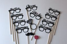 Bride & Groom Wedding Party Photo Booth Props by PAPERandPANCAKES, $50.00