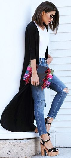 Black And White + Denim + Pop Of Color                                                                             Source