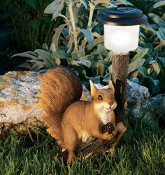 Squirrel with Stump Forest Friends Solar LED Light