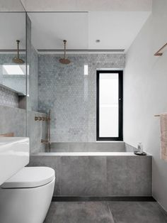 """Rethinking the Shower Niche (& Why I Think The Ledge Is """"Nex.- Emily Henderson Bathrooms Shower Niche Source by gunsnfroses - Family Bathroom, Modern Bathroom, Small Bathroom, Minimalist Bathroom, Bathroom Showers, Bathroom Grey, Contemporary Bathrooms, Grey White Bathrooms, Granite Bathroom"""