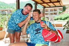 Gazza jokes around with Terry Butcher during some Italia 90 down time English Legends, Ipswich Town, Retro Football, Boys, England International, Image, Cycling, Memories, Live