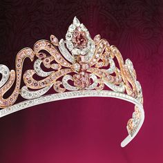 Australian: Argyle Pink Diamond Tiara - 2010 by the Royal Jeweler Asprey of London; owned by Linneys Jewelry Company. Using 178 rare Argyle pink diamonds from within the Argyle mine in Australia; the tiara is one of the most significant pieces of pink diamond jewelry in history. The center stone of this unbelievable piece of art is actually a detachable ring that can easily be removed from the tiara at any point. The mine is predicted to end its production in approximately eight years.