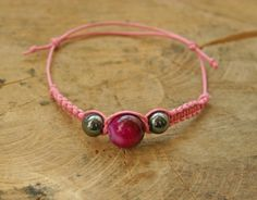 Dyed Pink Agate and Hematite Bracelet Handmade Girl by TriouZ, £5.79