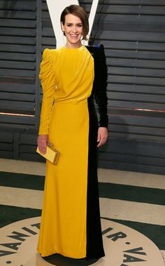Sarah Paulson At The Vanity Fair Oscars After-Party Sexy Outfits, Dress Outfits, Fashion Dresses, Fashion Fashion, Fashion Details, Elegant Dresses, Casual Dresses, Kente Dress, Dinner Gowns