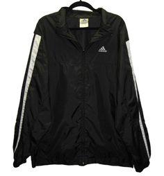 ADIDAS Black Windbreaker Jacket Mens Size Large Tri Stripe Full Zip 52 Chest #adidas #windbreaker