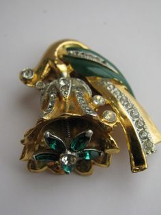 Vintage Coro Art Deco Dress Clip Rhinestone and Enamel Flower Trembler
