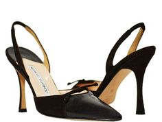 Manolo Blahnik - Leather and Suede Slingbacks - Brown - Size 6 M