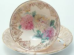Paragon Vintage Fine Bone China Tea Cup and Saucer Made in England Peach Ground Pink Yellow Purple Flowers Heavy Gold Pattern Trim