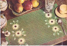 554 Place Mat Crochet Pattern, Placemat with Flower Daisy Motifs, Lacy Crochet…