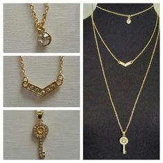 3 Layer Drop Necklace in Gold Beautiful multi-layer necklace with a sparkly key and cubic zirconia stones. Jewelry Necklaces