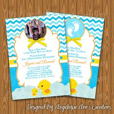 Yelllow Rubber Ducky Baby Shower Invitations with by jayarmada2, $13.99